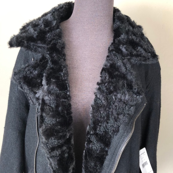 NEW Free Prople Faux Fur Trim Slouchy Jacket NWT